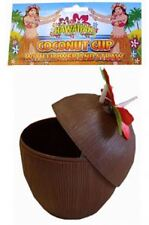 Hawaiian Coconut Drinking Cup with Straw BBQ Tropical Beach Party Picnic Flower