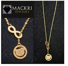 MACKRI Gold Stainless Steel Chain Infinity Necklace with Sparkling Japanese Cart