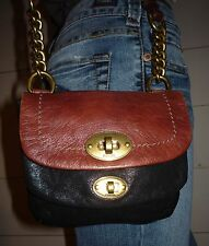 """FOSSIL """"Long Live Vintage"""" Small Two Tone Leather Blk/Brn Cross Body Bag"""