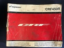 Honda CRF450 R Genuine Owners Service Manual Competition Handbook 2010