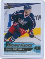 16/17 UPPER DECK YOUNG GUNS ROOKIE RC #457 MARKUS NUTIVAARA BLUE JACKETS *41385