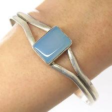 """Vtg 925 Sterling Silver Blue Chalcedony Gemstone Wide Open Cuff Bracelet 7.5"""""""