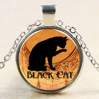 Black Cat Glass Art Pendant Chain Necklace Fashion Jewelry Halloween Gift