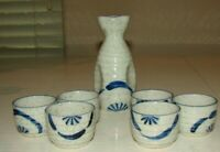 Japanese Sake Set Decanter w/ 6 Cups Porcelain