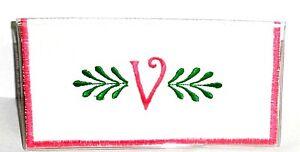 Curly Q Pink Initial V on White Cotton-Vinyl Checkbook Cover CV-1 Handmade