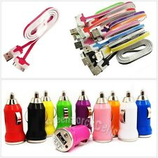 Color iPhone 4 4S iPod Charging Kits USB Data Cable Cord+Car Charger Adapter Lot