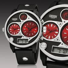OHSEN Military Army Sport Dual Time Zone Analog Big Case Mens Wrist Watch Quartz
