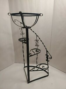 """Wrought Iron Twist Metal Plant Stand Spiral Staircase Flower Stand 28"""" Tall"""