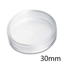 10 Pcs Clear Round Plastic Cases Coin Storage Capsules Holder Small 30mm TO