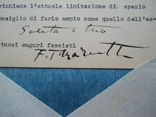 Rarita Autografo Originale MARINETTI su lettera