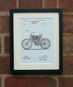 USA Patent Drawing EARLY MOTORBIKE CYCLE  BICYCLE  MOUNTED PRINT 1901 Xmas Gift
