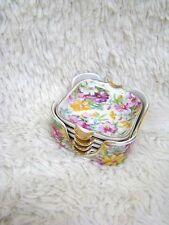 Set of 4 Floral Ceramic Mini Ashtray Set, Marked E W, Made in Japan, Collectible
