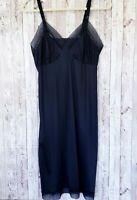 Vintage Lorraine 36 Full Slip Black Sheer Lace Trim Adjustable Straps Nylon?