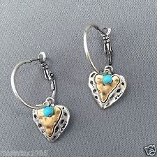 Antique Silver Hammered Gold Heart Shaped Turquoise Stone Drop Dangle Earrings