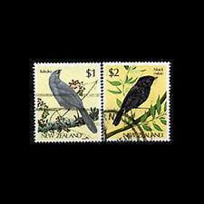 New Zealand, Sc #768-69, Used, 1985, Birds, Kokako, Black Robin, 2FXX