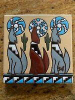 Serenading Coyotes Howling Dog Decorative Tile 6 X 6 Earthtones Southwest Art