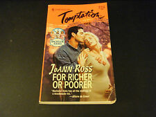 Harlequin Temptation:  For Richer or Poorer by JoAnn Ross (1995, Paperback)
