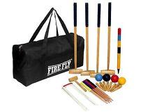 4 Player Croquet Set Garden Game Balls Pine Wood Complete Hoops 4 Mallet