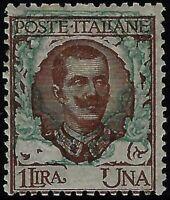 """Regno - 1901 - 1""""Floreale"""" Lire 1 - varietà """"Ornato spostato"""" - n.77o - nuovo MH"""