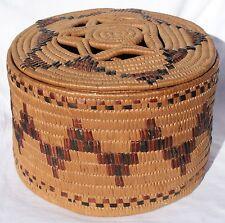 Circa 1900 Salish or Yakima Indian Northwest Coast Imbricated Lidded Basket