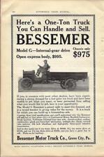 1916 Bessemer Model G 3.5 Ton Truck Ad/ Grove City PA