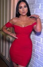 Womens Sexy Ruched Bardot V-Neck Slinky Bodycon Mini Dress Club Wear Party Dress