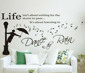Wall Quotes Art Wall Sticker 'Dance in the Rain' DIY Wall Decal HIGH QUALITY