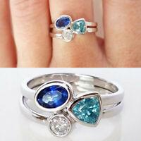 925 Silver Irregular Aquamarine Topaz Crystal Rings Wedding Women Jewelry Gift