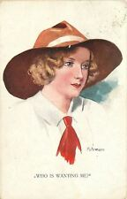 """""""Who Is Wanting Me?""""~Pretty Blonde in Floppy Hat~Blue Eyes~Red Tie~Artist Signed"""