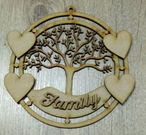 MDF Sycamore Family Tree Plaque - Embellish, Colour, Paint, Glitter