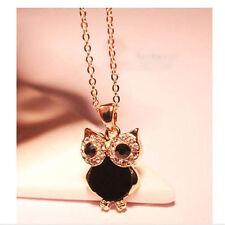 Retro Vintage Rhinestone Owl Long Chain Pendant Necklace Fashion Jewellery Gift
