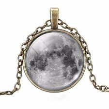 The Moon Victorian Antiqued Celestial Pendant Bronze Tone Necklace