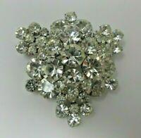 Snowflake BROOCH Pin EUC Clear Crystals Christmas Prong Set Silver Tone