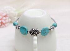 Bohemia Tibet Charms Turquoise Flower Beads Silver Cuff Bangle Bracelet Jewelry