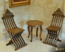 Moroccan Handmade Mosaic Wooden Folding Chair Syrian furniture pearls  inlay