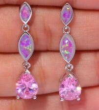 STUNNING Pink Fire Lab Opal & Crystal Stud Dangle Pierced Earrings