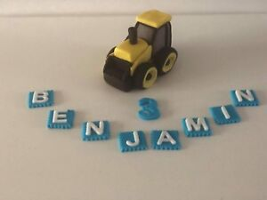 Digger truck tractor personalised cake topper 3D handmade 100% edible decoration