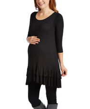 Maternity Size UK 12 Ladies Tunic Dress Black Ruffle-Hem NEW #B-220