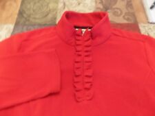 COLDWATER CREEK TRUE RED TOP WITH NECK ZIPPER AND RUFFLE SIZE 1X(16W-18W)