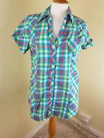 NEXT - GREEN YELLOW RED CHECKED SHORT SLEEVE SHIRT, POPPERS, UK 12 VGC