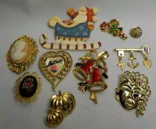 Lot Of 10 Vintage To Now Brooch Pins Enameled Bells Key Multi Color
