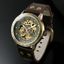 ESS Mechanical Automatic Skeleton Watch Brown Leather Band Retro Case