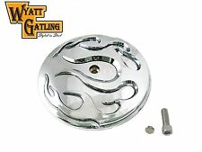 Chrome w/Chrome Flame Breather Cover Air Cleaner Trim 1999-later Harley Davidson
