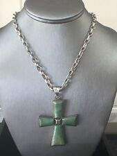 Vintage Sterling Silver and Jade Cross pendant and Necklace, Signed Taxco Artist