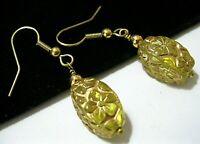 Vintage Jewellery Beautiful Yellow & Gold Flower Carved Glass Bead Drop EARRINGS