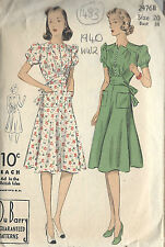 1940 WW2 Vintage Sewing Pattern B38 DRESS (1483) By Du Barry