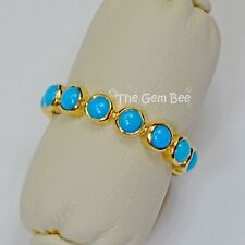 18k Solid Yellow Gold Sleeping Beauty Turquoise Eternity Ring SIZE 7