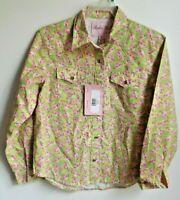 Rodeo Girl M long-sleeve snap front pink/green cotton cowboy shirt NWT