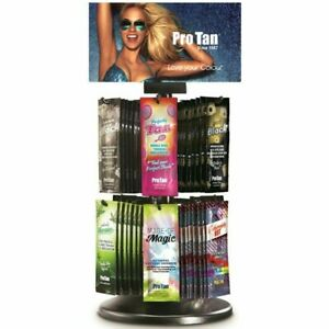 New PRO TAN Sunbed Tanning Lotion Cream SALON Rotating Display Deal 60 Sachets