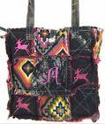 Western Mossy Oak Camo DEER Embroidery Aztec Patchwork TOTE Rag Bag w/ MONOGRAM